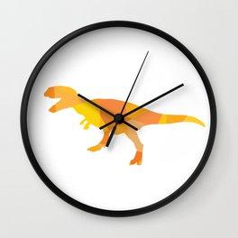 Tiranosaurus rex in orange mix colors Wall Clock