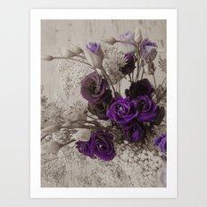 Vintage purple sepia floral Art Print