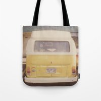 vw bus Tote Bags featuring VW Bus by Kristine Ridley