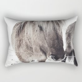 snowy Icelandic horse bw Rectangular Pillow