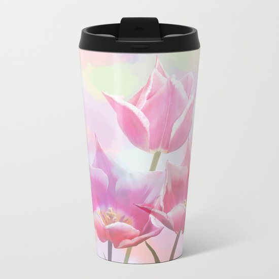 Painterly pastel spring with tulips Metal Travel Mug