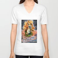 kitsune V-neck T-shirts featuring Lily Kitsune by Care Halverson