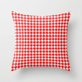 Scarlet Houndstooth Throw Pillow