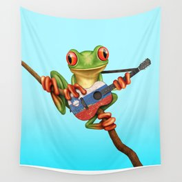 Tree Frog Playing Acoustic Guitar with Flag of Slovenia Wall Tapestry