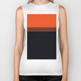 70s Orange Retro Striped Pattern Biker Tank