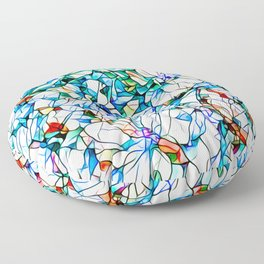 Glass stain mosaic 3 floral - by Brian Vegas Floor Pillow