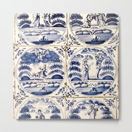 Dutch Delft Blue Tiles Metal Print