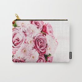 Pink Roses and Gerbera Daisy Flowers Wedding Bouquet, Love Photo, Romantic Celebration, Wall Art Carry-All Pouch