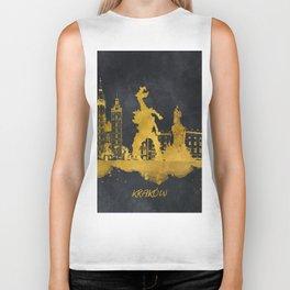 Krakow skyline gold black #cracow Biker Tank