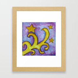 STARS & SWIRLS, watercolor painting Framed Art Print