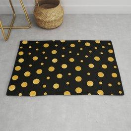Elegant polka dots - Black Gold Rug
