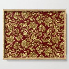 Red & Gold Floral Damasks Pattern Serving Tray