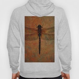Dragonfly On Orange and Green Background Hoody