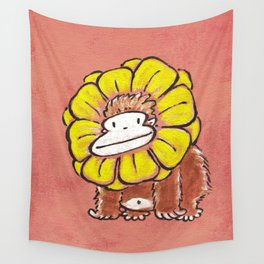 Ape in Flower Ruff Wall Tapestry