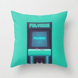 Polybius Arcade Game Machine Cabinet - Front Green Throw Pillow