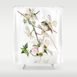 Dogwood Flowers and White Throated Sparrow Shower Curtain