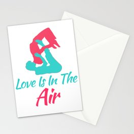 Lovely and Relaxing Acro Yoga Tshirt Design Love Is In The Air Stationery Cards