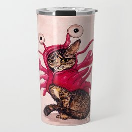 """""""The Lobster"""" by Amber Marine ~ Tabby Cat in Lobster Costume, Watercolor and Ink, (c) 2015 Travel Mug"""
