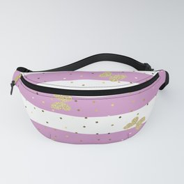 Gold Butterfly on Pink Purple and White Stripes Fanny Pack