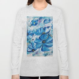 Abstract Blue Poppies Long Sleeve T-shirt