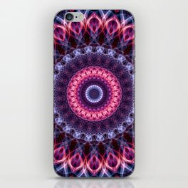 Violet and pink glowing mandala iPhone Skin