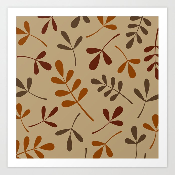 Fall Color Assorted Leaf Silhouettes Art Print