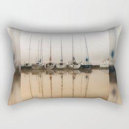 Boats moored in fog Rectangular Pillow