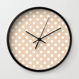 Small Polka Dots - White on Pastel Brown Wall Clock