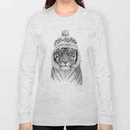 Siberian tiger (b&w) Long Sleeve T-shirt