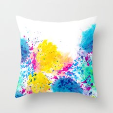 Blue Yellow Abstract Watercolor Neon Pink Splatter Throw Pillow