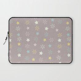 Pastel brown pink yellow Christmas snow flakes stars pattern Laptop Sleeve