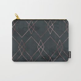 Modern Deco Rose Gold and Marble Geometric Dark Carry-All Pouch