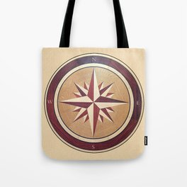 Wind rose drawn on a wooden surface Tote Bag