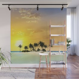 Island in the sunset Wall Mural