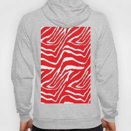 Animal Print Zebra Red and White Pattern Hoody