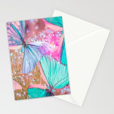 Turquoise butterflies on a pink background - lovely summer mood Stationery Cards