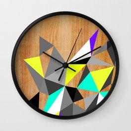 Wooden Geo Neon Wall Clock