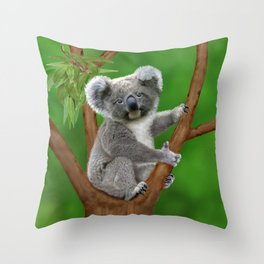 Blue-eyed Baby Koala Bear Throw Pillow