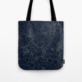 Stylish navy blue gold hand drawn floral Tote Bag