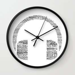 Typographic headphone Wall Clock