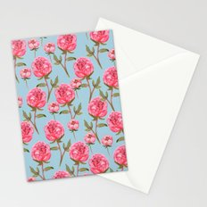 Pink Peonies On Blue Background Stationery Cards