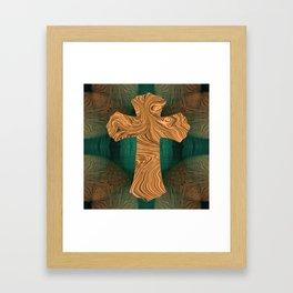 Cross in gold Framed Art Print