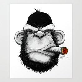 Cigar Monkey Art Print