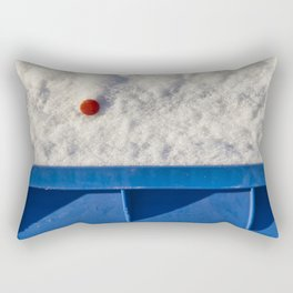 Red Button In White Snow On Blue Container Rectangular Pillow