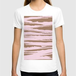 Rose brown abstract expressive brushstroke T-shirt