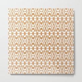 Geometric Art, Aztec Prints, Terracotta and White, Wall Art Boho Metal Print