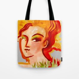 Deep orange yellow hues fashion portrait Tote Bag