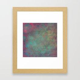 Grunge Garden Canvas Texture: Pink and Teal Baroque Framed Art Print