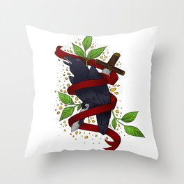 The Raven and the Sword Throw Pillow