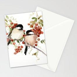 Chickadee Bird Vintage Bird Artwork, two birds, chickadees woodland design Stationery Cards
